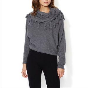 BCBGMaxAzria Gray Zion's fringe sweater Sz M